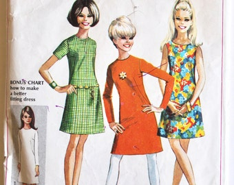 Vintage 1960s Womens/Teens A-Line Shift Dress Sewing Pattern Size 11-12 Teen Size Bust 32 Simplicity 7511
