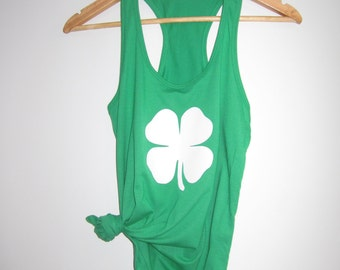 Shamrock womens tank top - XS-XXL st. patrick's day choose your color 4 leaf clover lucky