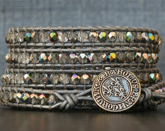 READY TO SHIP wrap bracelet- crystal czech glass on silver leather- beaded leather 5 wrap bracelet