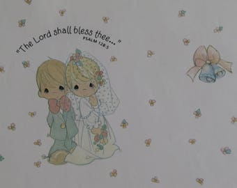 Vintage Gift Wrap Sheet ~ Wedding ~ Precious Moments ~ The Lord Shall Bless Thee...