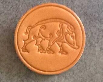 Handmade Leather Badge/Brooch/Pin Celtic Boar