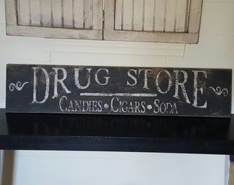 Distressed and vintage look drug store sign/white black/ apothecary/market
