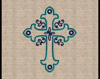 Cross Applique with Scrolls Fleur De Lis Cross Embroidery Design Cross machine embroidery design 5x7 8x10