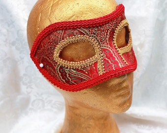 Red Brocade Masquerade Mask, Red and Gold Paisley Satin Brocade Masquerade Mask