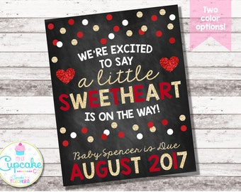 Valentine's Day Pregnancy Announcement | Little Sweetheart | Chalkboard Sign | Pregnancy Reveal | Valentine's Day Photo Prop | Digital