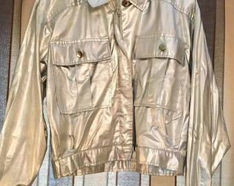 Silver metallic 80s bomber jacket by Darlin Designs of California