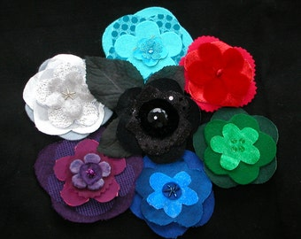 NEW PAPER PATTERN Flower brooch- flat large upcycle recycle instructions and template -paper copy to be posted or airmailed