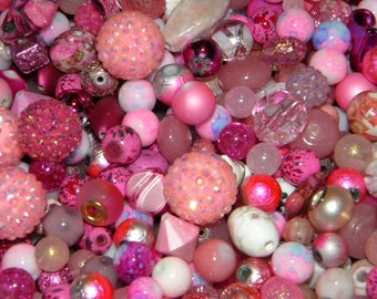 NEW 100/pcs Pink/Blush Mixed Jesse James Loose (spacer beads only) Random Mix Bag of different sizes & shapes