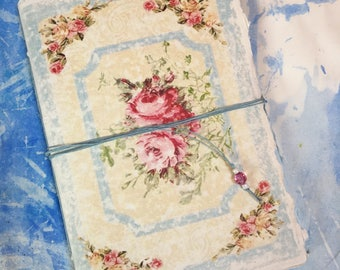 Royal China, shabby chic notebook  paperback sketchbook, journal, doodle pad, scrapbook   Floral stationary  A5  Ready To Ship