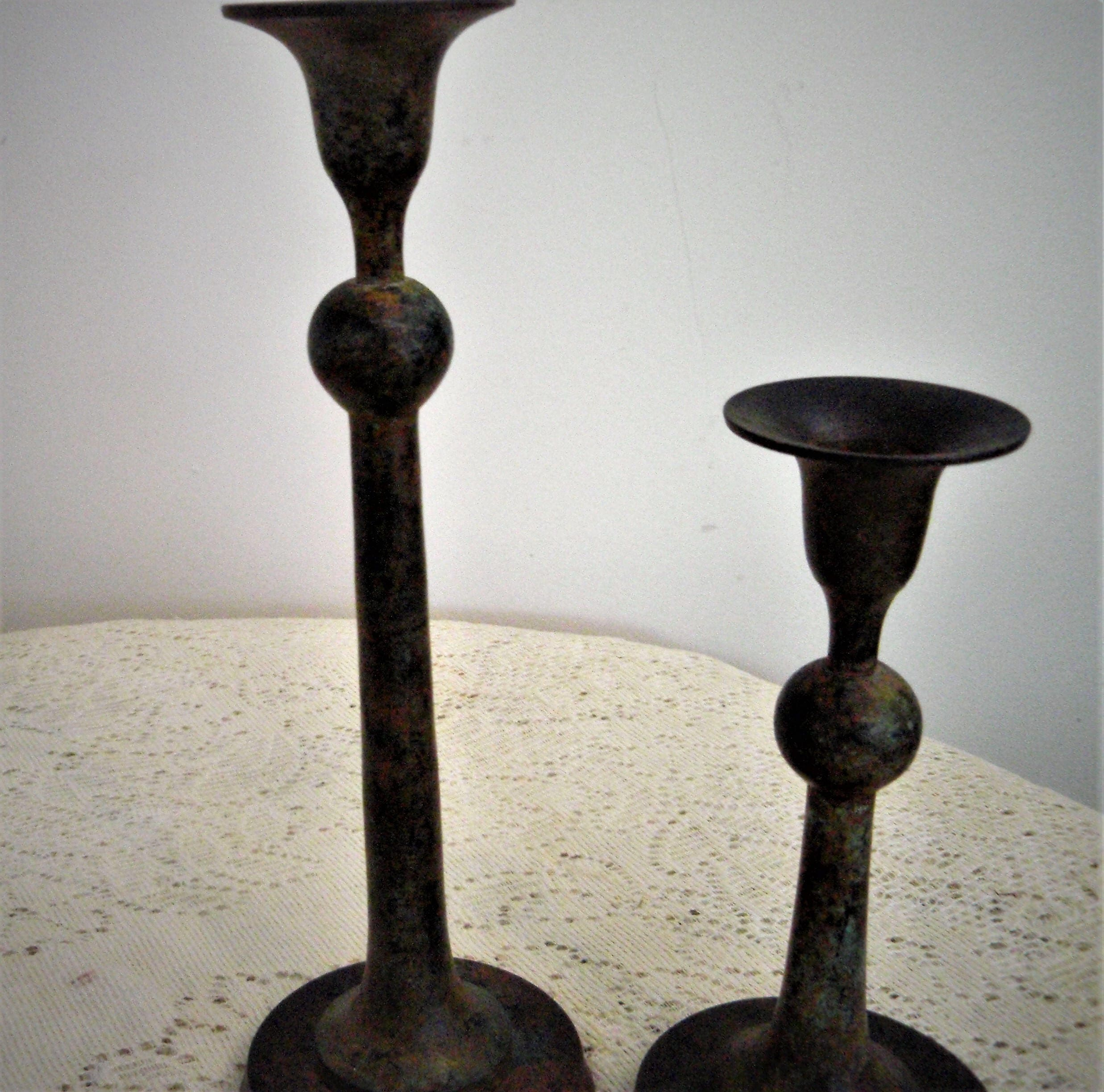 CLEARANCE Rustic Metal Candlestick Holders Vintage Pair Of Candle Holdersheavy Patina