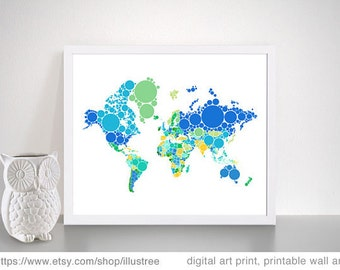 Abstract world map with dots, printable wall art, digital art prints, nursery wall art, home decoration, instant download