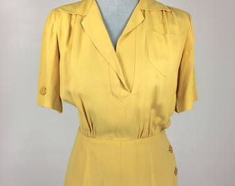 Vintage 1940's Perfect Simple Yellow Garbardine Short Sleeve V-Neck 40s Day Dress Button Skirt
