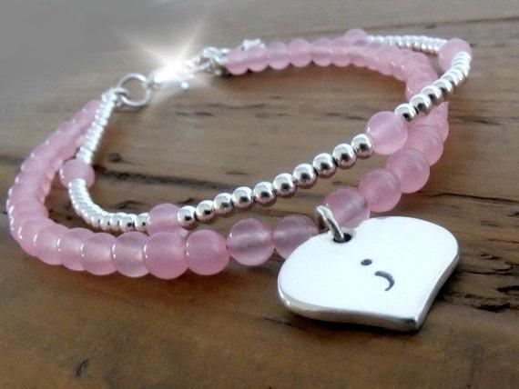 Semicolon Bracelet, Semi Colon Bracelet, Surviving Depression Bracelet, Survivor Bracelet, Silver and Rose Quartz Semicolon Bracelet