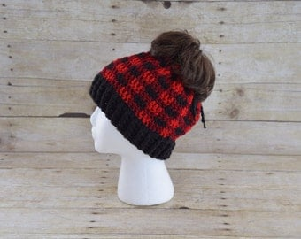 Messy Bun Hat -Plaid Messy Bun Beanie - Plaid Hat - 3 in 1 Hat- Convertible Hat - Pony Tail Hat - Bun Beanie