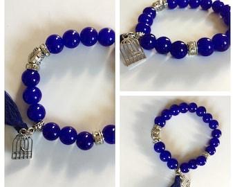 Blue Bead Buddha Birdcage Bracelet With Rhinestones & Tassle