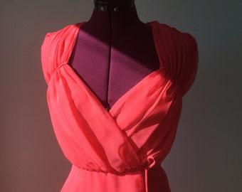 Shirred Bodice Chiffon Maxi Dress