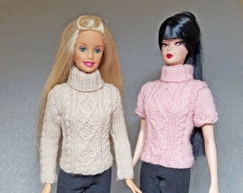 Diamonds and  Cable Knitting Pattern for Barbie and similar dolls
