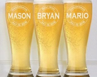 9 Beer Glasses, Groomsmen Gift Ideas, Wedding Groomsman Gift, Personalized Glasses with Monogram, Beer Mugs, Best Man, Wedding Party Gift