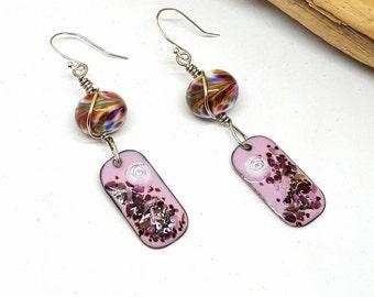 Pink Confetti Hippie Earrings - Pink Earrings - Confetti Earrings - Hippie Earrings