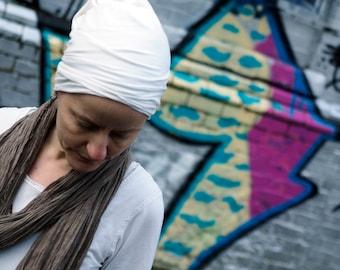 Head cover, kundalini yoga, organic cotton, bamboo, superjersey, white, i can c u, handmade, hat, tube, turban