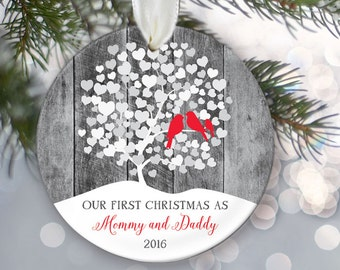 Lovebirds Our First Christmas as Mommy and Daddy Ornament, Personalized Christmas Ornament, Rustic faux / fake Gray Wood Ornament, OR005