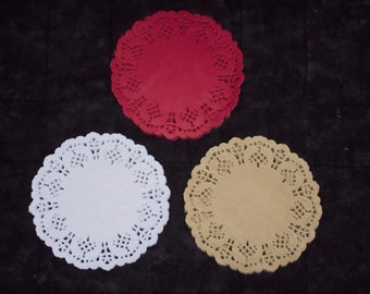 4.25 inch round doilies,red,white or tan,60/pkg,cardmaking,paper crafts,decoupage,scrapbooking,collage