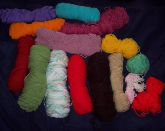 "Large Crafter's lot of Yarn, 13+ partial skeins, worsted yarn, ass't colors, destash,lot""A"", God's eyes, fiber art, school art projects"