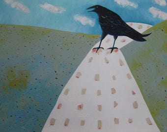 Snow Road Crow - Original Oil Painting On Paper