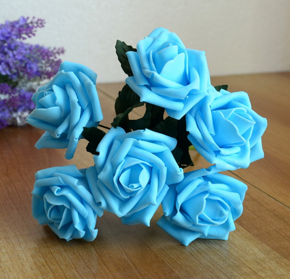 Turquoise Blue Roses Wedding Flowers Artificial Sky Blue