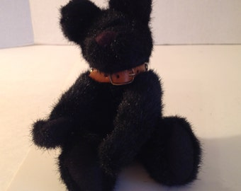 Black Boyd's Plush BLACKSTONE Jointed Bear with Leather Studded Collar