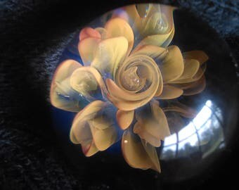 Nice 24kt gold 999.9 silver fumed floral flower contemporary glass marble sphere