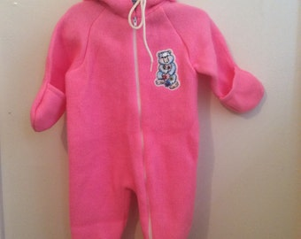 VTG Obion Pink Sleeper Winter Snow Suit Sz 0-9M Teddy Bear