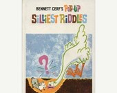 CLEARANCE Bennett Cerf, Silliest Pop-Up Riddles Book, 1970s Activity Book, Children's Book, Lift the Flap, Pull the Tabs, Joke Book