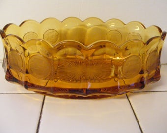 Vintage Collectible RETRO AMBER FOSORIA glass Eagle Coin Pattern large console bowl gorgeous oval panelled with frosted coins