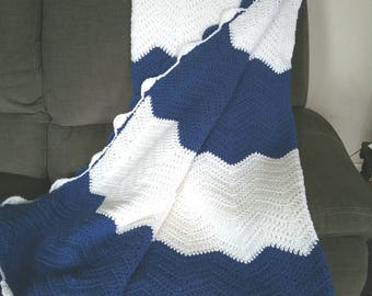 Crochet Chevron Afghan - Extra Long - Blue and White