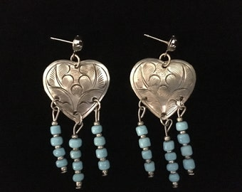 Vintage Silver Heart w/Turquoise Bead Earrings (ABX1E)