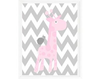 Giraffe Nursery Wall Art, Baby Girl Nursery, Gray Chevron, Pink Gray Nursery, Girl Art, Giraffe Print, Giraffe Art, Nursery Print, Bird