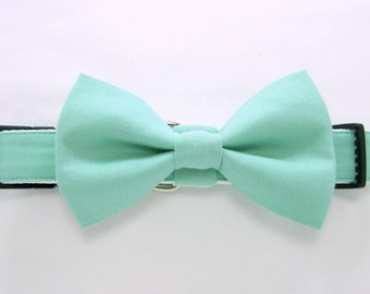 Wedding dog collar-Mint Dog Collars with bow tie set  (Mini,X-Small,Small,Medium ,Large or X-Large Size)- Adjustable