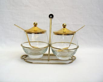 Mid Century Condiment Caddy glass with brass lids spoons set of 2 dishes