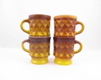Four, Ombre Golden Yellow, Pineapple/Kimberly Pattern, Fire-King Mugs - Kitchen or RV - Hot Coffee - Camping - Retro Kitchen - Collectible