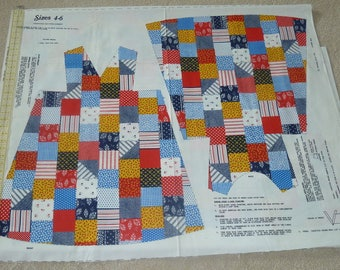 Vintage Springs Mills Girls' size 4-6 Patchwork Dress Cut and Sew Dress Panel