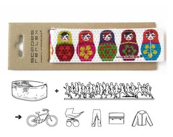 Kawaii Bike accessories MATROSCHKA MATRYOSHKA safety ribbon ankle leg strap reflective russian, Matryoshka Reflex Band, handmade by 44spaces