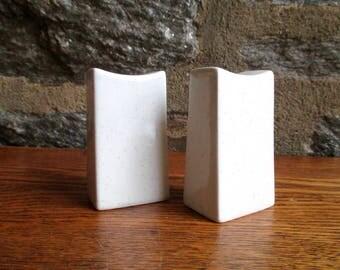 Vintage Mikasa Modern White Ceramic Salt and Pepper Shakers
