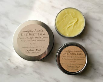 Eucalyptus Lavender Whipped Lip & Body Balm for dry, chapped skin, beard balm, aftershave
