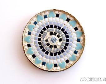 Vintage Mosaic Lazy Susan Blue Tile and Heart Design Trivet