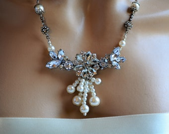 Pearls Bridal Swarovski Rhinestones Crystals Wedding Necklace, Crystals Necklace, Swarovski Necklace, Bridesmaid Necklace