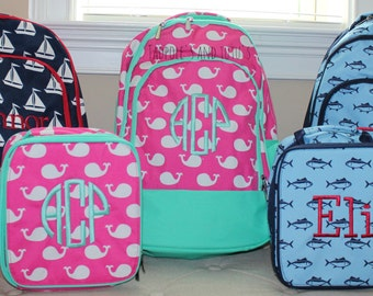 Monogrammed Backpacks & Lunch Box, Back to School, School Bag, Monogrammed Lunch box, Monogrammed Lunch Kit, Personalized Bookbags and Lunch