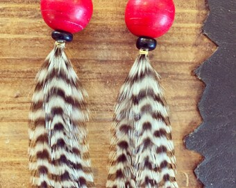 Burnt Orange Rooster Feather Earrings w/ Antique Turquoise Beads