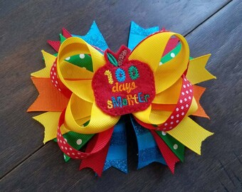 100 Days Smarter 100th day of school primary colors stacked hair bow
