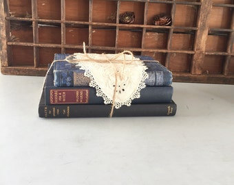 Books bundle shades of blue black very old vintage collection cottage chic decorating